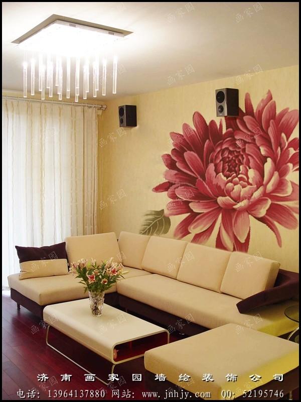 沙发墙手绘--山东济南画家园墙面彩绘艺术装饰网