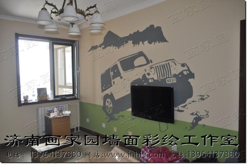 客厅影视墙设计图--山东济南画家园墙面彩绘艺术装饰