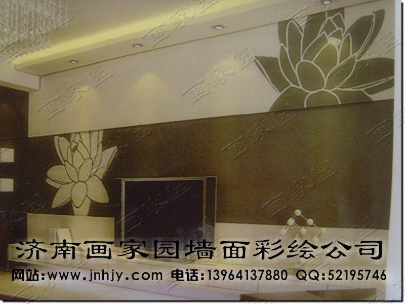 济南手绘壁画  济南手绘墙体  影视墙藤蔓彩绘|墙绘; 客厅影视墙效果