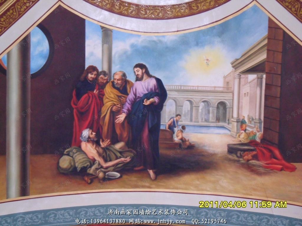 教堂壁画--山东济南画家园墙面彩绘艺术装饰网