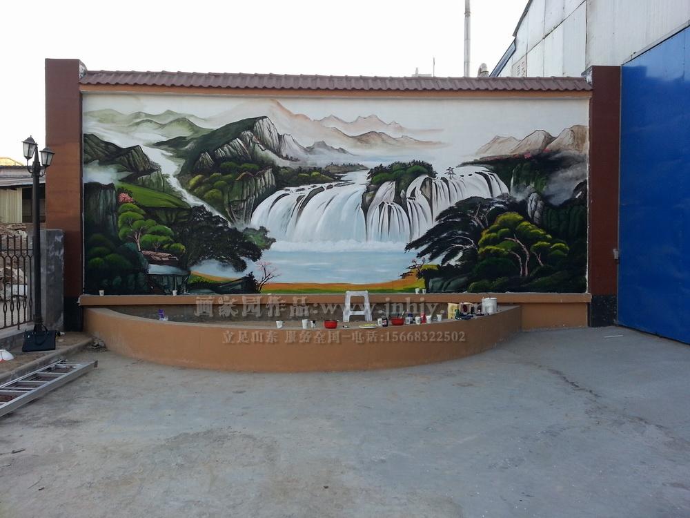 公司影背墙手绘--山东济南画家园墙面彩绘艺术装饰网