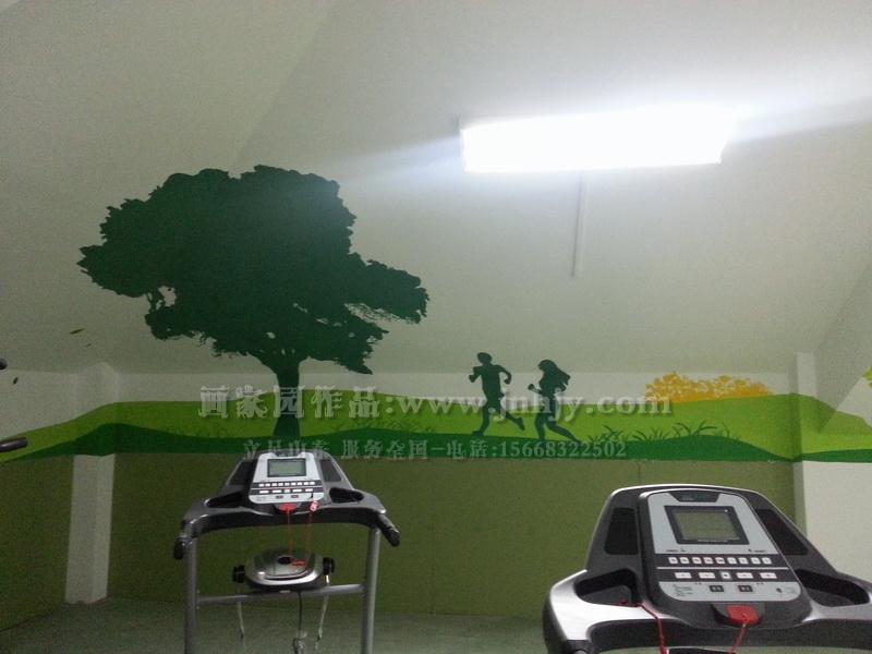 我运动我健康手绘墙